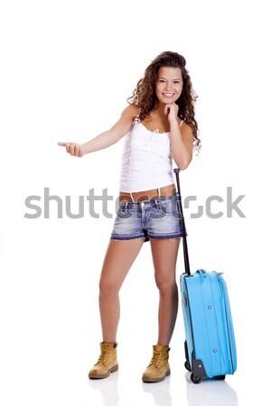 旅人 美しい 若い女性 青 スーツケース ストックフォト © iko