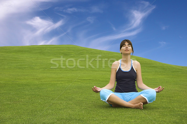 Jóga gyönyörű nő zöld legelő lány Stock fotó © iko