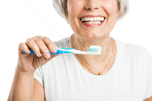 Portret gelukkig oude vrouw gezicht vrouwen Stockfoto © iko