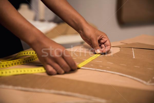 Készít portré fiatal divat designer dolgozik Stock fotó © iko