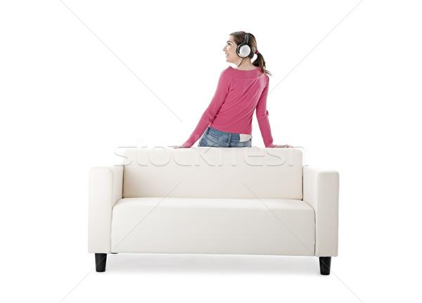 Dinlemek müzik güzel genç kadın kulaklık kadın Stok fotoğraf © iko