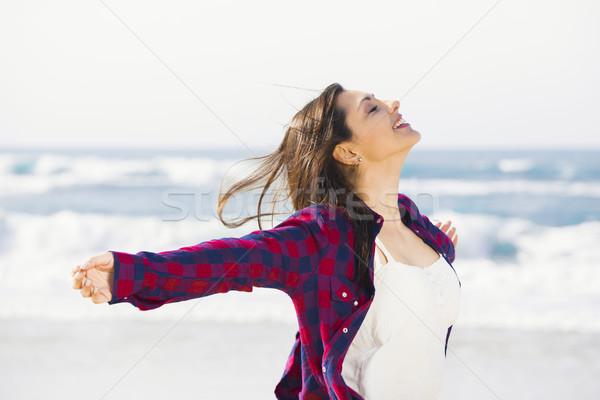 Heureux Teen belle plage été Photo stock © iko