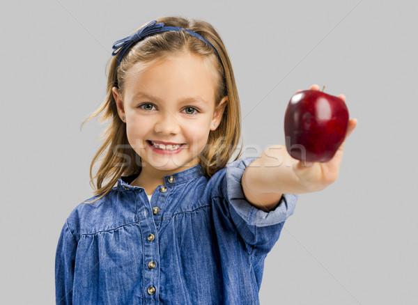 Aranyos lány tart alma stúdió portré Stock fotó © iko
