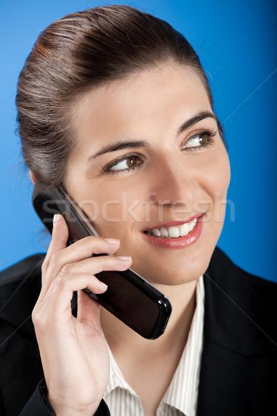 Stockfoto: Zakenvrouw · roepen · telefoon · mooie · jonge · vrouw · mobieltje