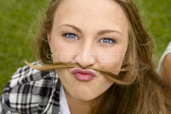 Funny twarzy zewnątrz portret szczęśliwy Zdjęcia stock © iko