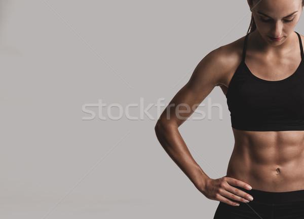 Amour portrait jeune femme corps musclé Photo stock © iko