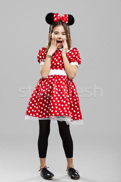 Meisje carnaval gelukkig kostuum grijs Stockfoto © iko
