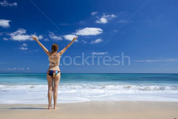 Lata czasu piękna młoda kobieta broni otwarte Zdjęcia stock © iko