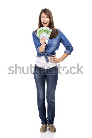 Woman holding some Euro currency notes Stock photo © iko