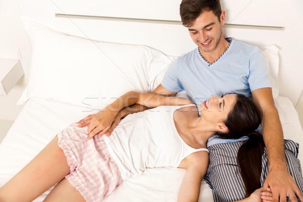 Stockfoto: Dating · hotel · slaapkamer · vrouw · familie