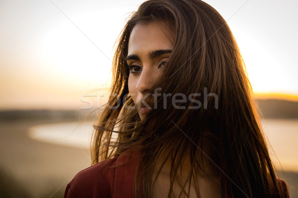 Portrait of a beautiful woman on the beach Stock photo © iko