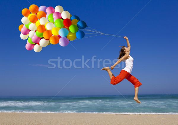 Сток-фото: прыжки · шаров · красивой · спортивный · девушки · красочный
