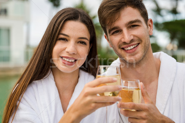 Young couple tasting wine Stock photo © iko