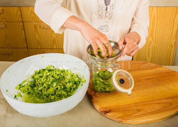Сток-фото: консервированный · овощей · капуста · кислая · капуста · кислый · стекла