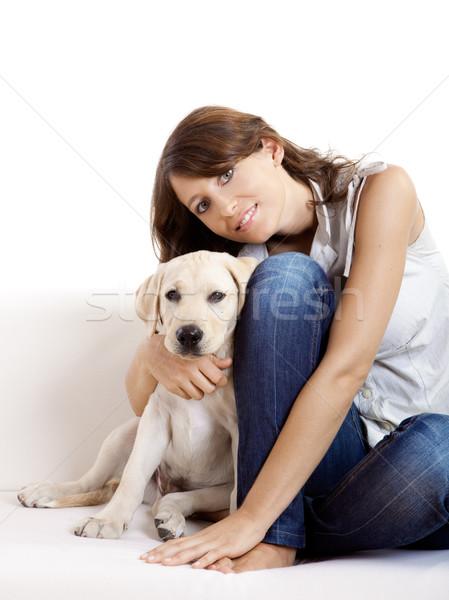 Nina mejor amigo jóvenes mujer hermosa casa cute Foto stock © iko