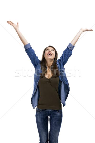 Gelukkig vrouw mooie vrouw armen lucht geïsoleerd Stockfoto © iko