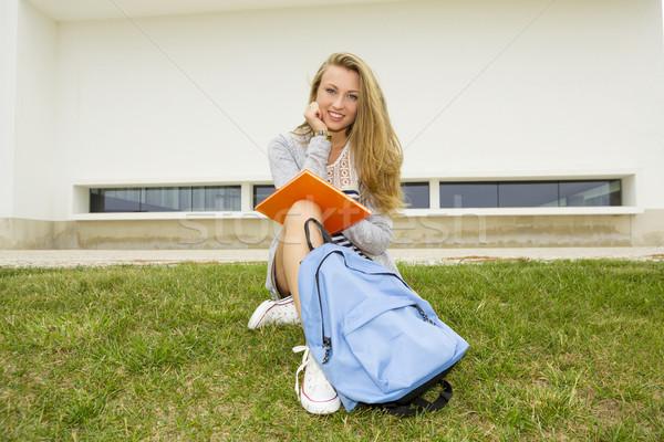 Сток-фото: студент · красивой · счастливым · подростку · сидят