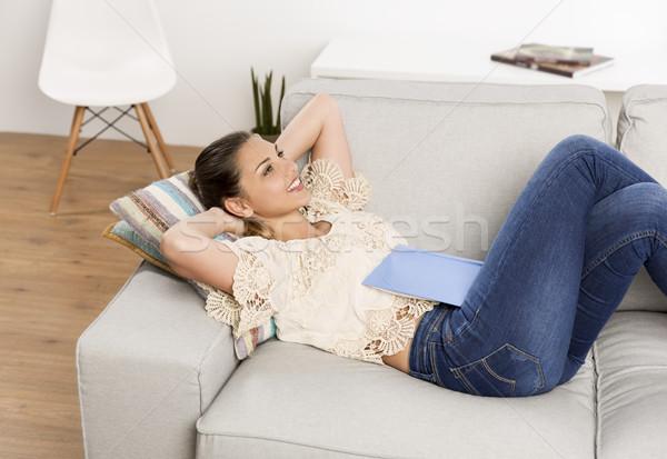день красивая женщина мечтатель домой Сток-фото © iko