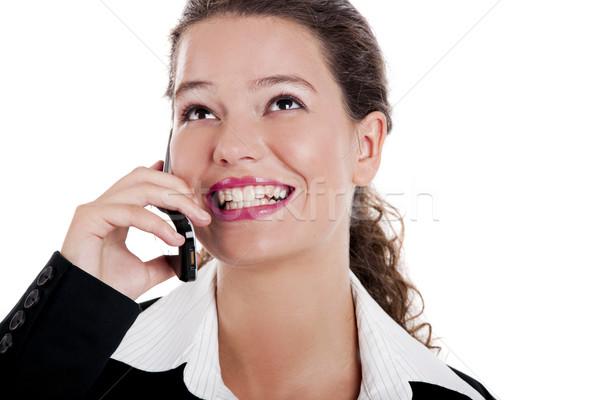 女性実業家 話し 電話 美しい 小さな 携帯電話 ストックフォト © iko
