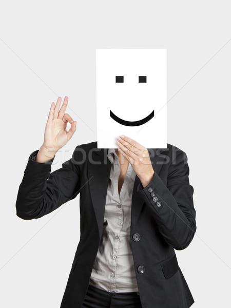 Cara feliz mujer feliz emoticon cara Foto stock © iko