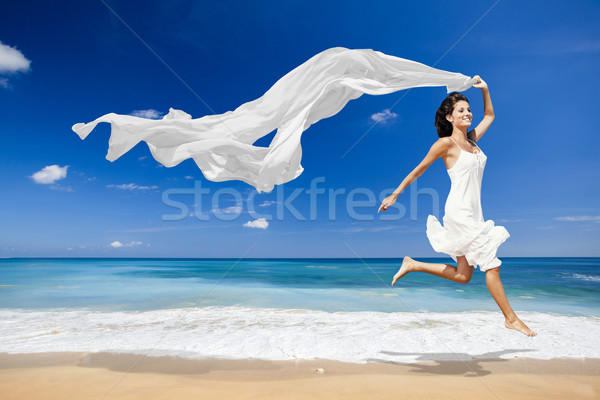Jumping with a white tissue Stock photo © iko