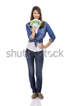 Nő tart Euro valuta jegyzetek izolált Stock fotó © iko