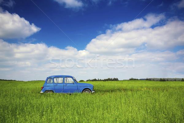Stary samochód piękna starych zielone łące Zdjęcia stock © iko