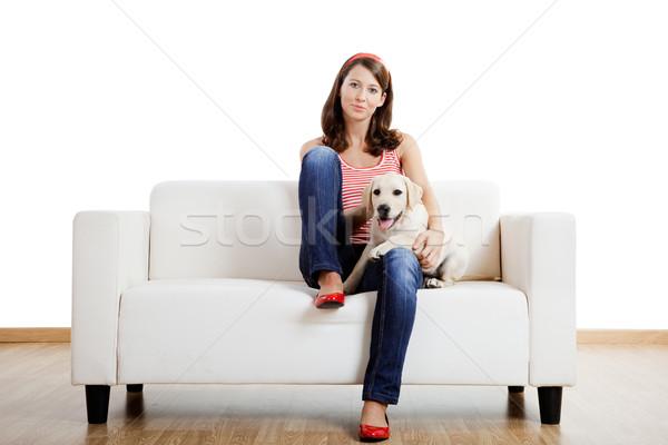 Menina melhor amigo jovem bela mulher casa bonitinho Foto stock © iko