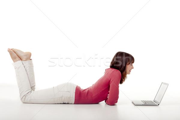 Foto d'archivio: Donna · lavoro · laptop · bella · donna · piano · ragazza