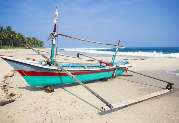 Blu barca bella panorama spiaggia cielo Foto d'archivio © iko