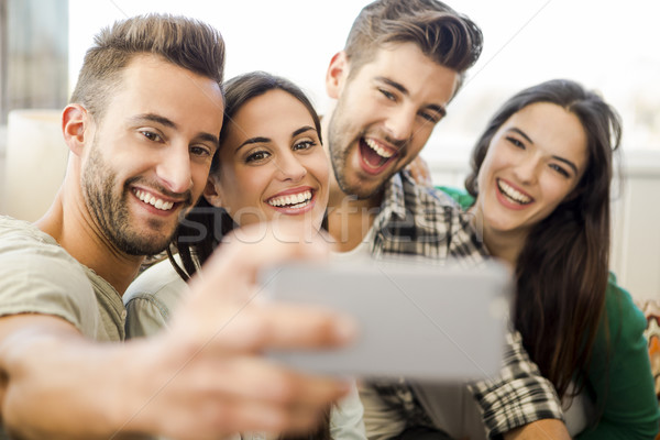 A selfie with friends Stock photo © iko