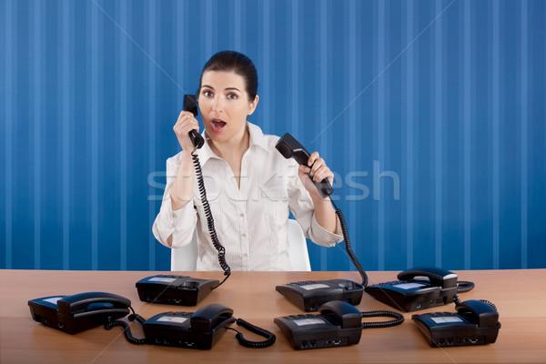 Estressante trabalhar empresária escritório telefone azul Foto stock © iko
