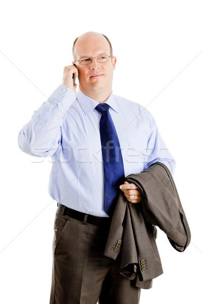 Geschäftsmann Geschäftsmann Telefongespräch isoliert Stock foto © iko