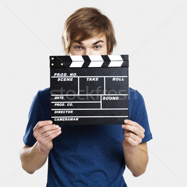 Portré fiatal férfi háttér boldog film Stock fotó © iko