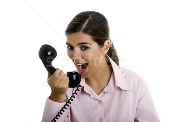 Telefone bela mulher telefone negócio escritório Foto stock © iko
