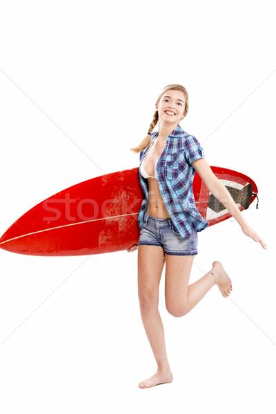 Güzel genç kadın sörf gri kadın gülümseme Stok fotoğraf © iko