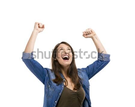 Felice donna raggiunto successo isolato bianco Foto d'archivio © iko