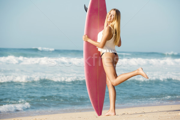 Sörfçü kız güzel plaj sörf kadın Stok fotoğraf © iko