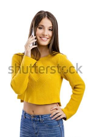 Altijd touch mooi meisje telefoongesprek geïsoleerd Stockfoto © iko