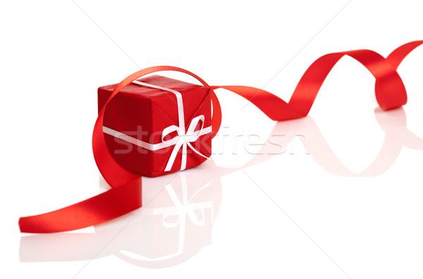 Karácsony ajándék piros szalag fehér háttér Stock fotó © iko