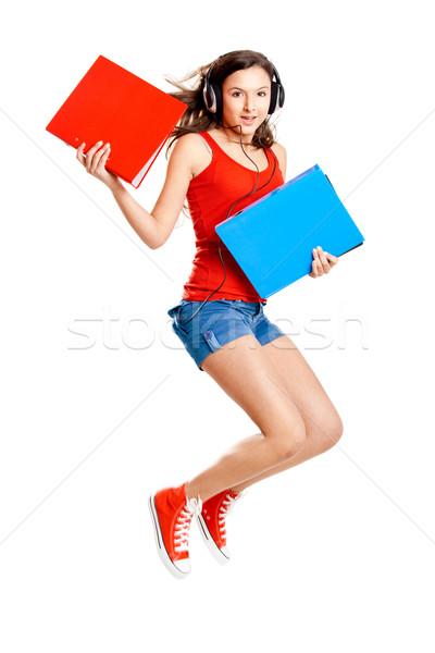 若い女の子 聞く 音楽 美少女 ジャンプ ストックフォト © iko