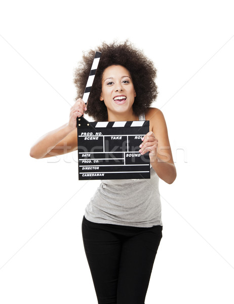 Woman with  clapboard Stock photo © iko
