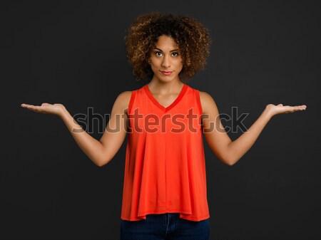 Niets mooie afro-amerikaanse vrouw armen Open Stockfoto © iko
