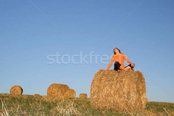Beautiful woman seated in hay bale Stock photo © iko