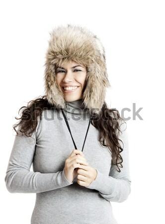 Kız kürk şapka güzel mutlu genç kadın Stok fotoğraf © iko