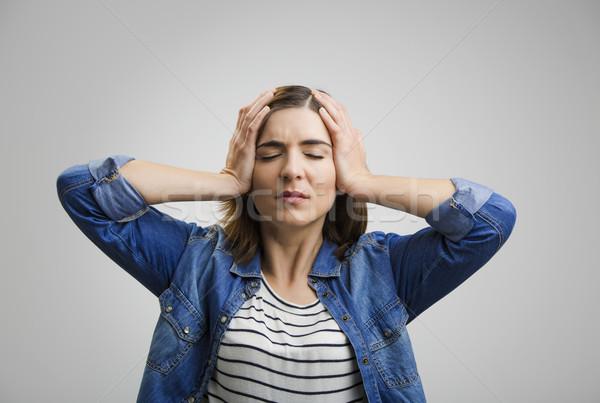 Sentimento terrível dor de cabeça frustrado mulher Foto stock © iko