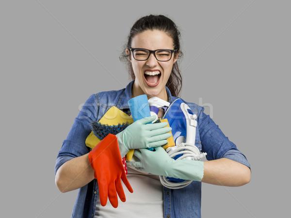 Moe schoonmaken portret vrouw handen vol Stockfoto © iko