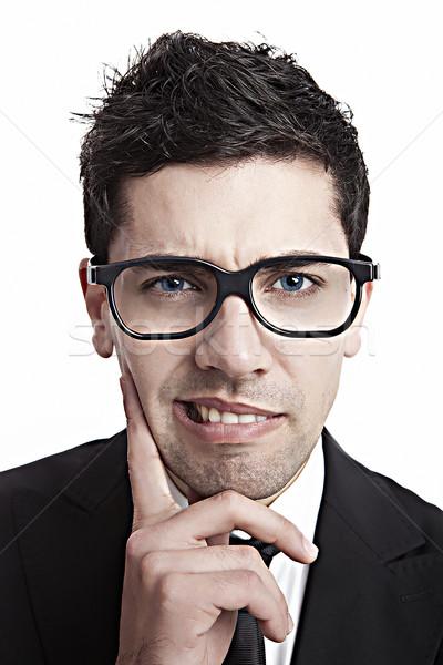 Nerd empresário engraçado retrato jovem óculos Foto stock © iko