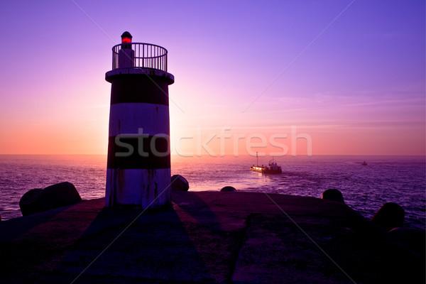 灯台 美しい 風景 画像 日没 ビーチ ストックフォト © iko