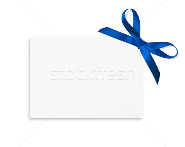 Cartão de presente arco vermelho cetim fita isolado Foto stock © iko